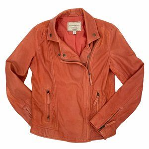 Lucky Brand Orange Lamb Leather Moto Jacket XS